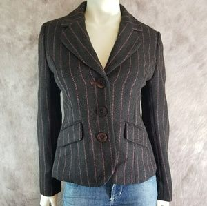 Boden Wool Striped Elbow Patch Blazer Jacket